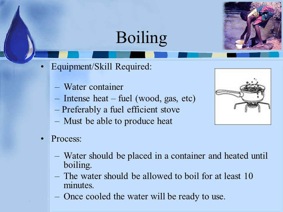 Boiling Equipment/Skill Required: Water container