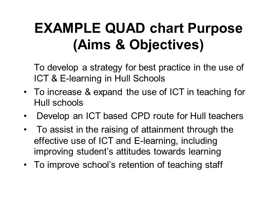 EXAMPLE QUAD Chart Purpose Aims Objectives