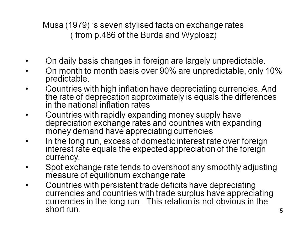 Musa (1979) 's seven stylised facts on exchange rates ( from p