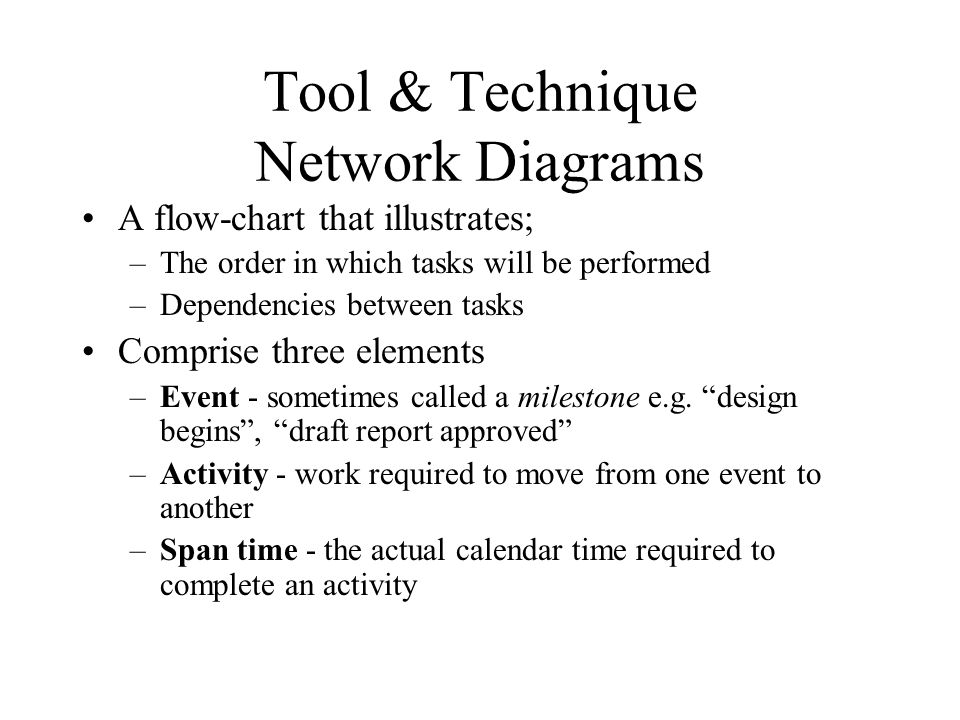Tool & Technique Network Diagrams