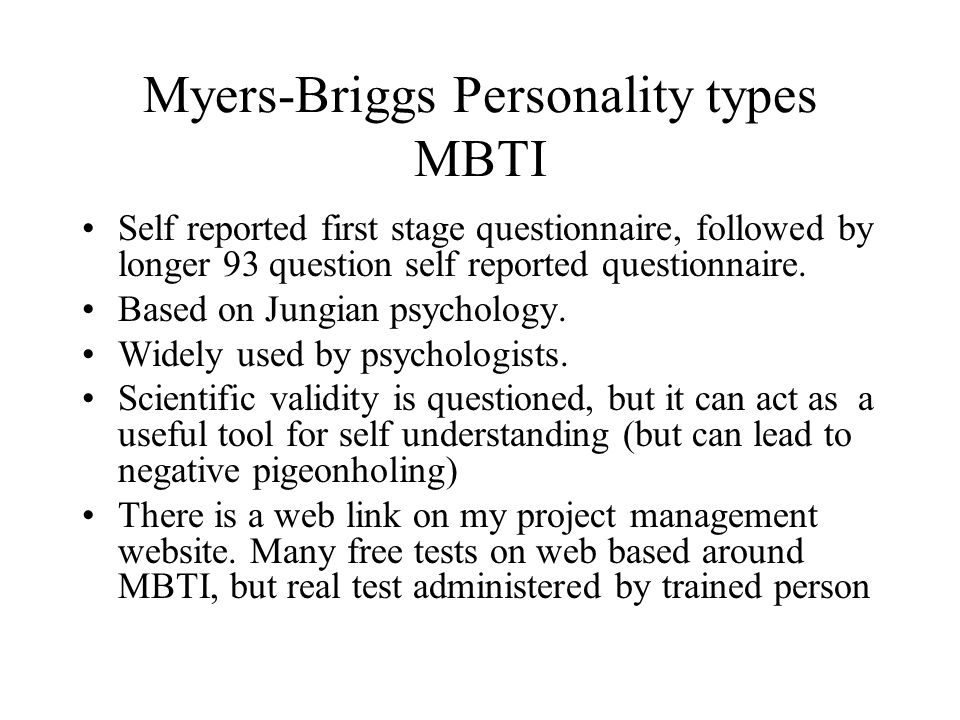 Myers-Briggs Personality types MBTI