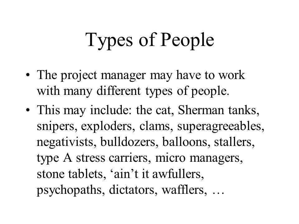 Types of People The project manager may have to work with many different types of people.