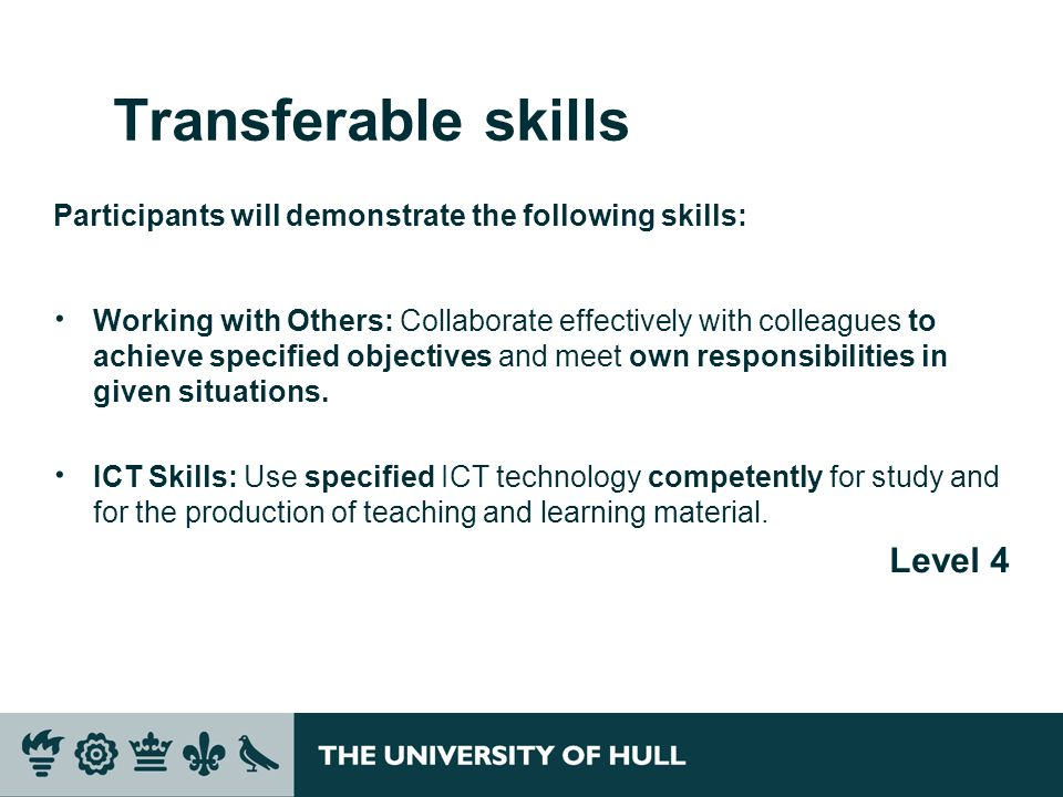 Transferable skills Level 4