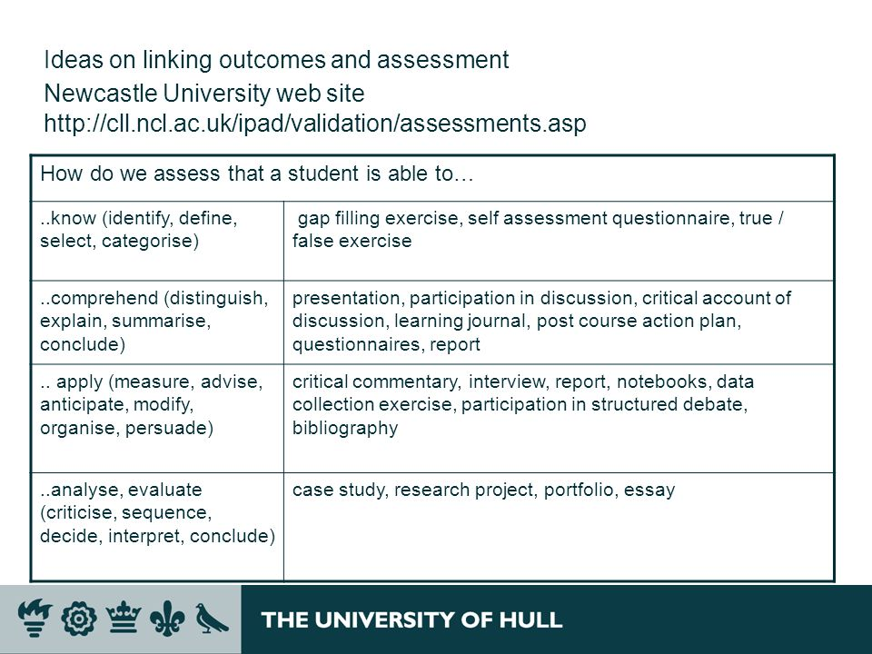 Ideas on linking outcomes and assessment Newcastle University web site http://cll.ncl.ac.uk/ipad/validation/assessments.asp