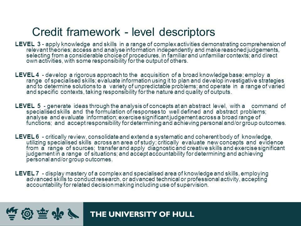 Credit framework - level descriptors