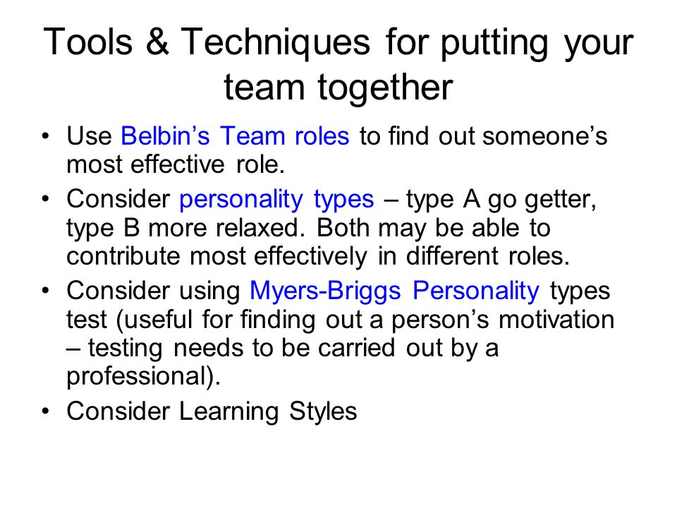 Tools & Techniques for putting your team together