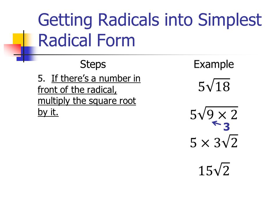 simplest radical form examples  Radicals Review. - ppt video online download