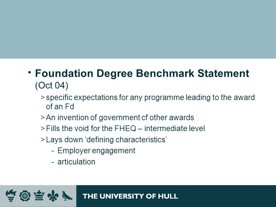 Foundation Degree Benchmark Statement (Oct 04)