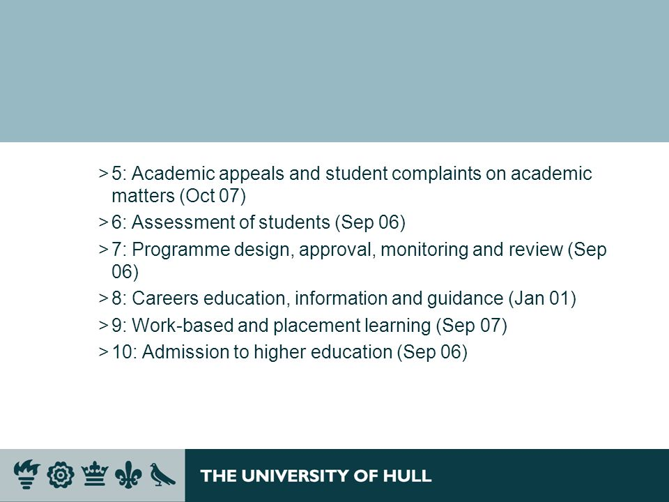 5: Academic appeals and student complaints on academic matters (Oct 07)