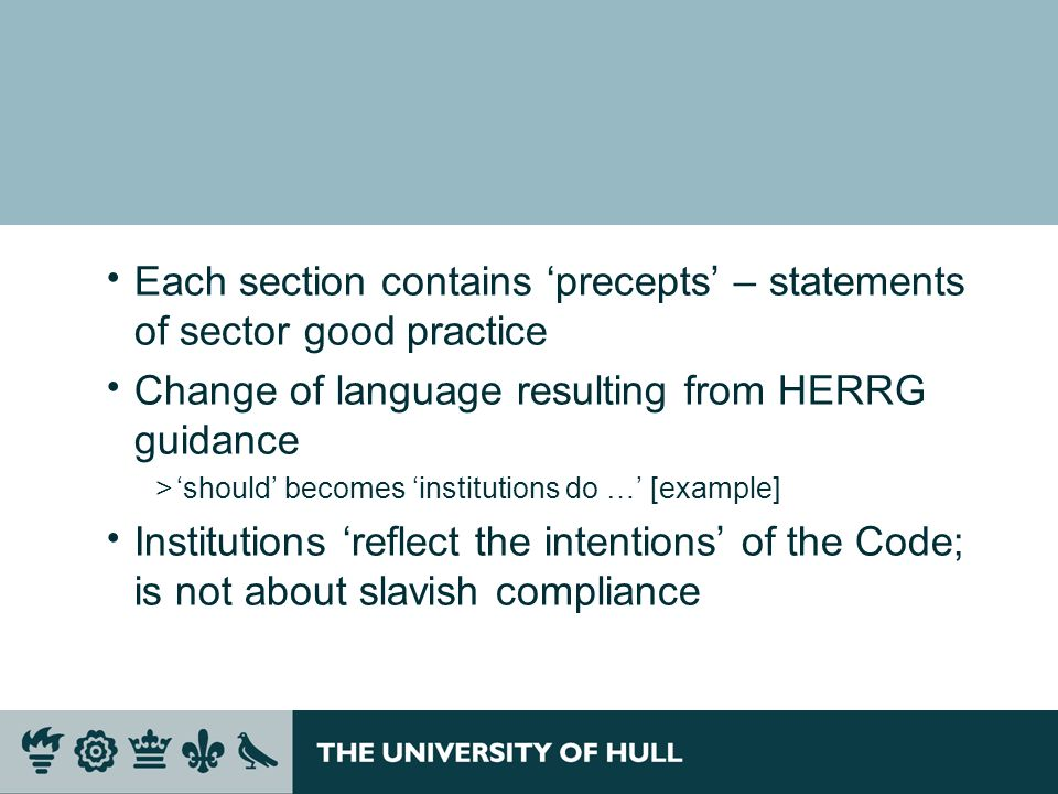 Each section contains 'precepts' – statements of sector good practice