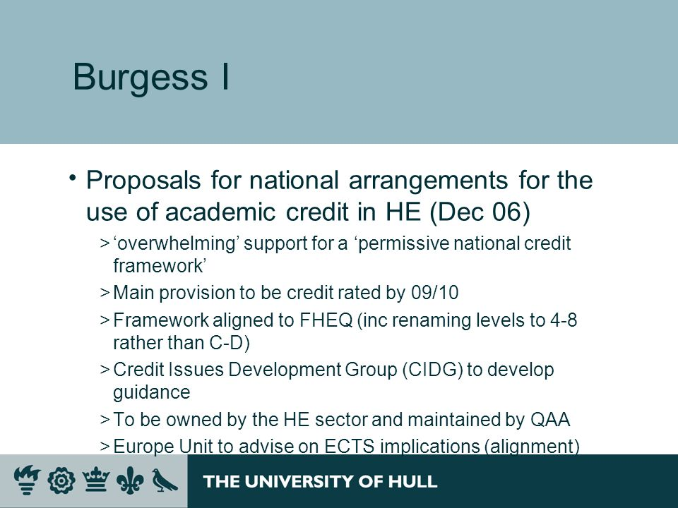 Burgess I Proposals for national arrangements for the use of academic credit in HE (Dec 06)