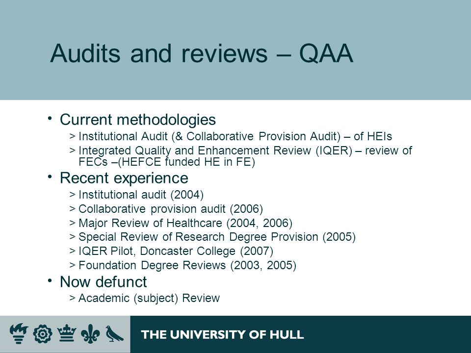 Audits and reviews – QAA