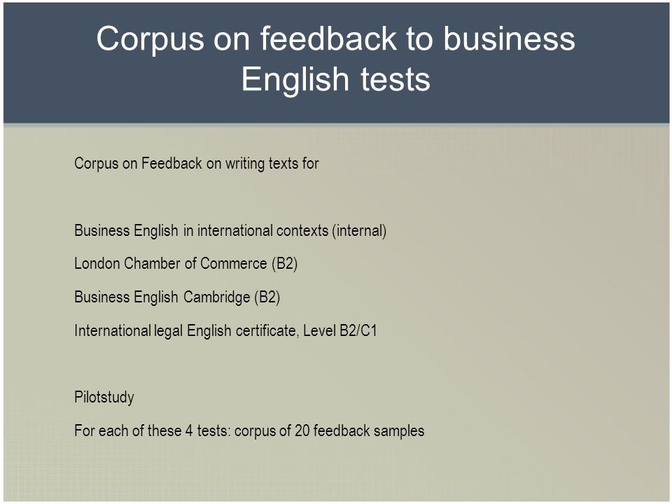 Corpus on feedback to business English tests