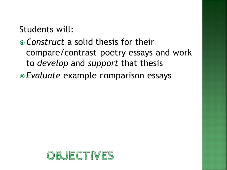 Compare And Contrast Essay Topics For High School Students  Objectives  Essay About Learning English also English Example Essay How Is An Effective Thesis More Like A Spoon Than A Fork  Ppt Download Narrative Essays Examples For High School