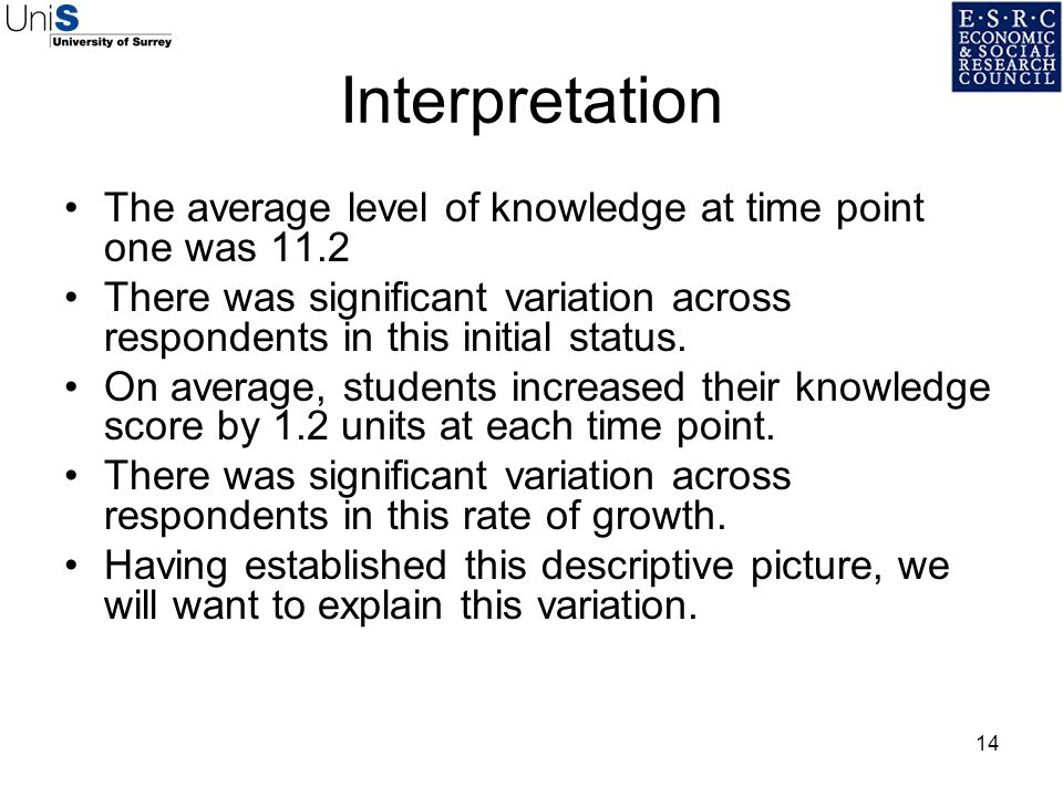 Interpretation The average level of knowledge at time point one was 11.2. There was significant variation across respondents in this initial status.