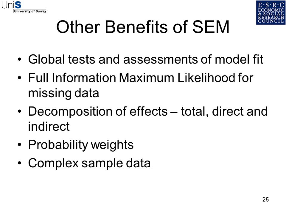 Other Benefits of SEM Global tests and assessments of model fit