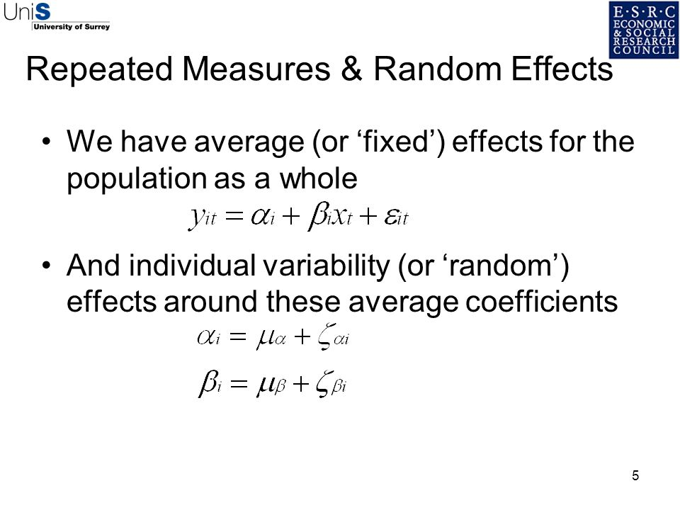 Repeated Measures & Random Effects