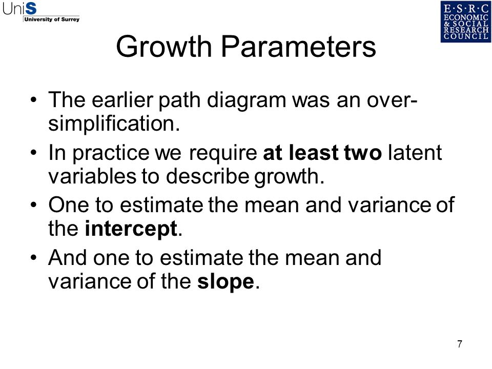 Growth Parameters The earlier path diagram was an over-simplification.