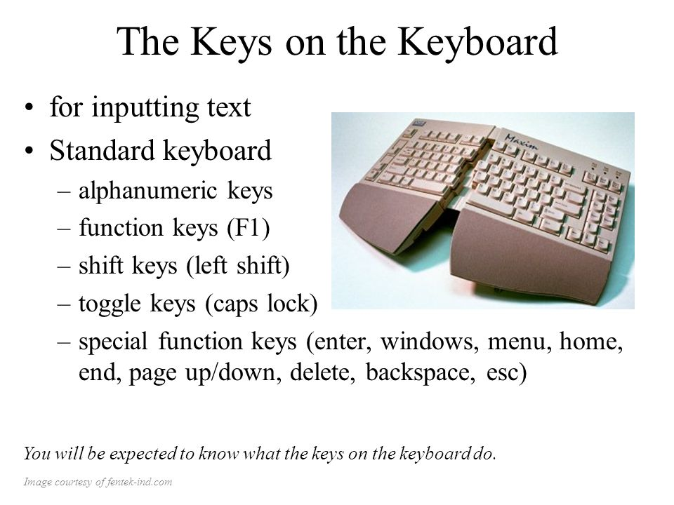 The Keys on the Keyboard