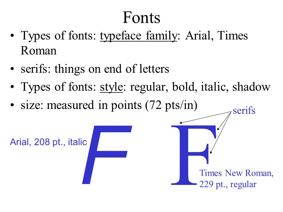F F Fonts Types of fonts: typeface family: Arial, Times Roman