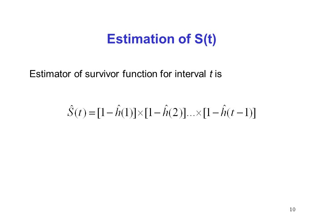Estimation of S(t) Estimator of survivor function for interval t is