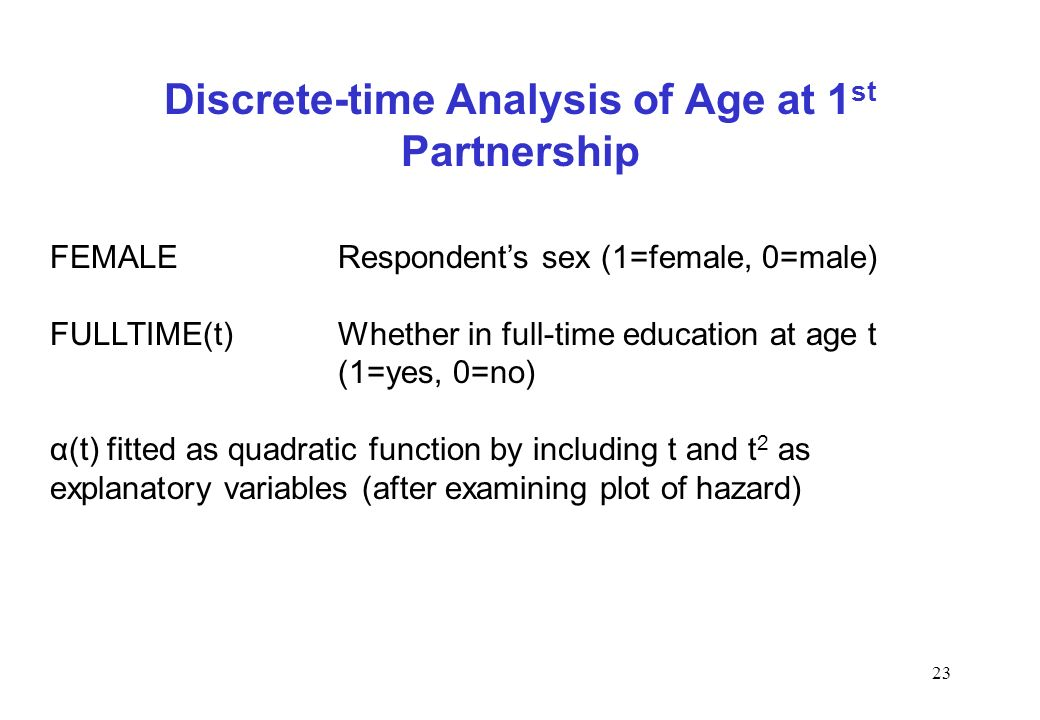 Discrete-time Analysis of Age at 1st Partnership