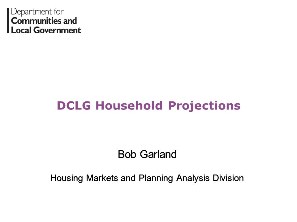 DCLG Household Projections