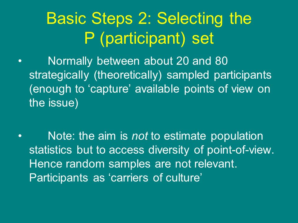 Basic Steps 2: Selecting the P (participant) set