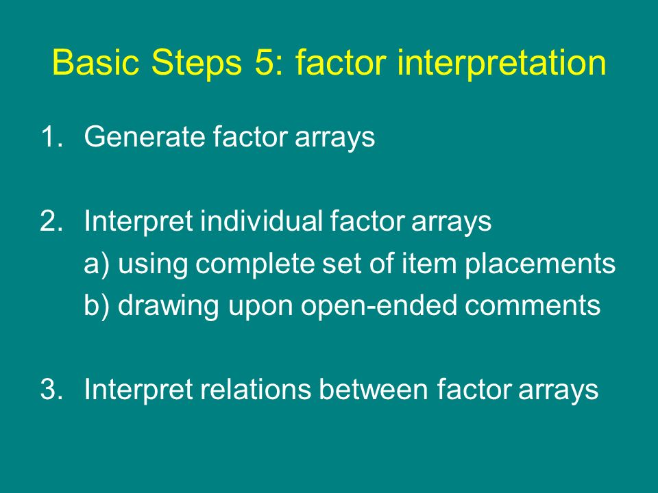 Basic Steps 5: factor interpretation