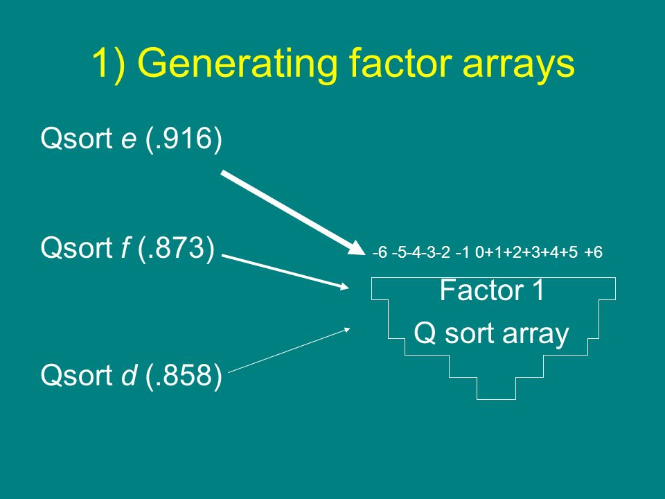 1) Generating factor arrays
