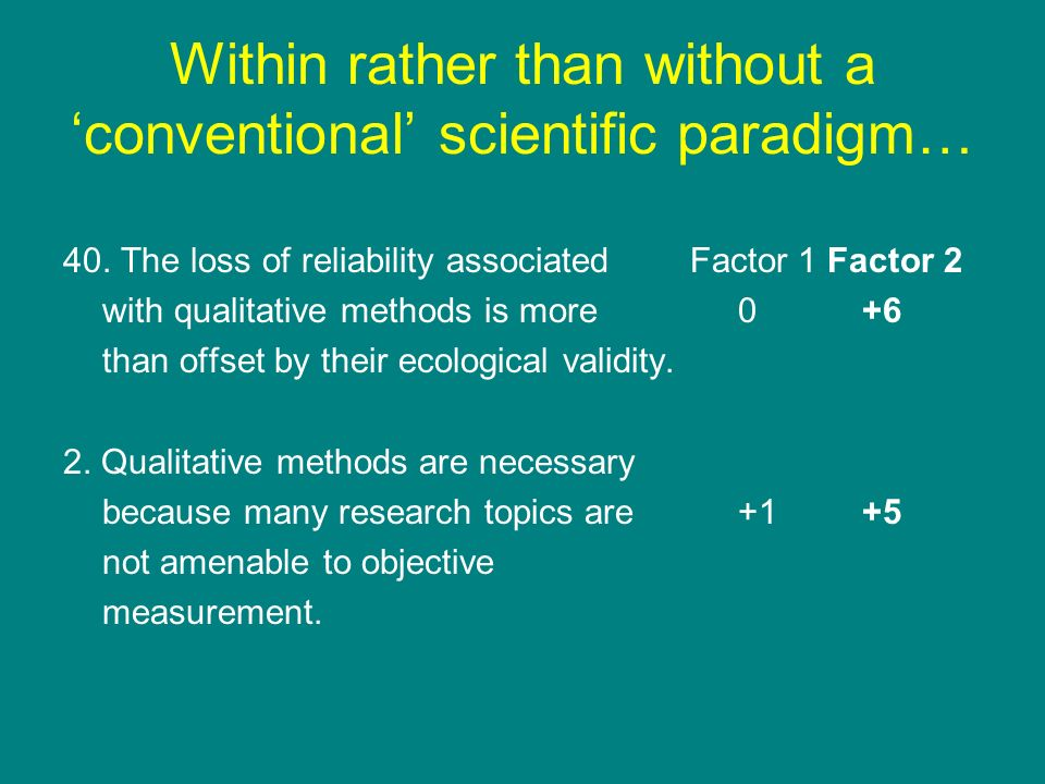 Within rather than without a 'conventional' scientific paradigm…