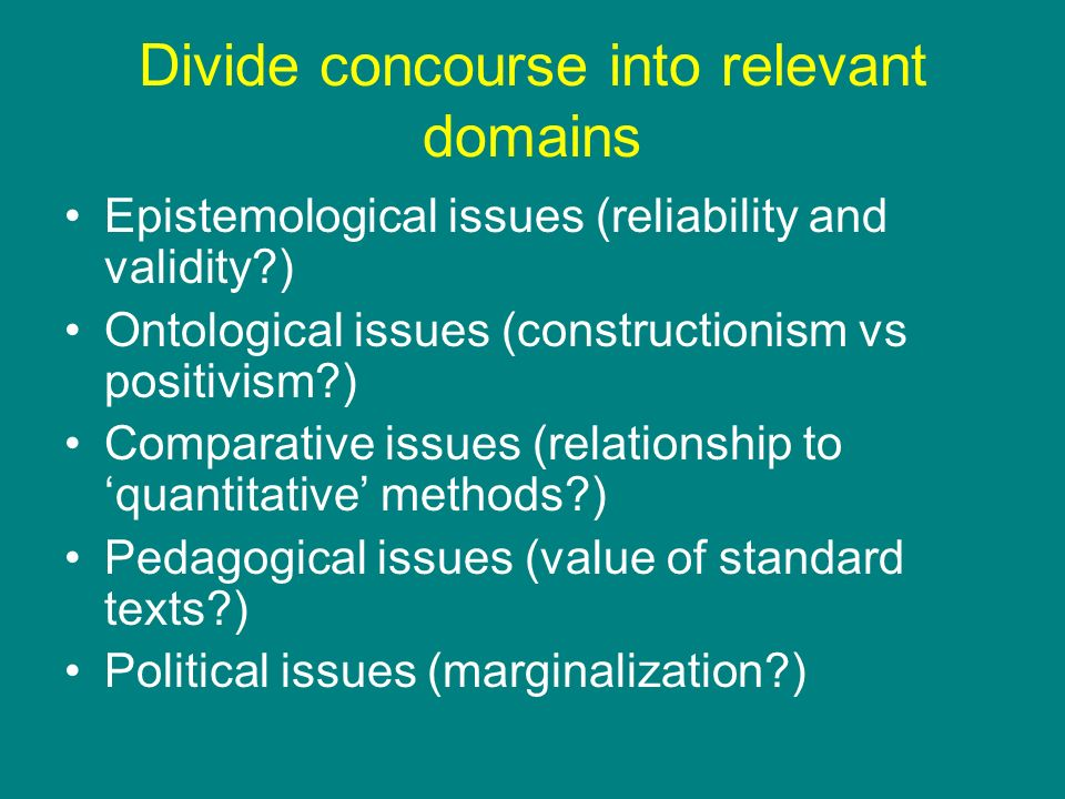 Divide concourse into relevant domains