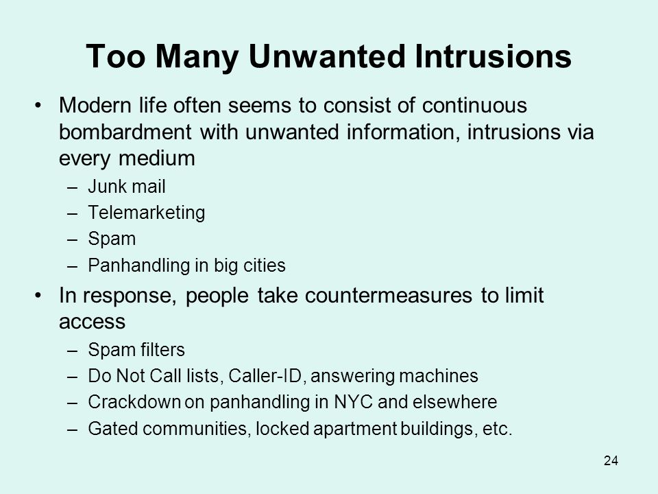 Unwanted Intrusions—II