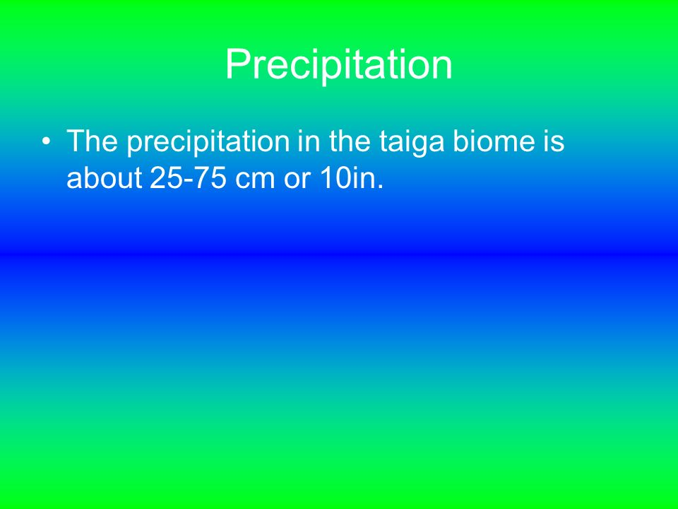 what is the precipitation in the taiga biome