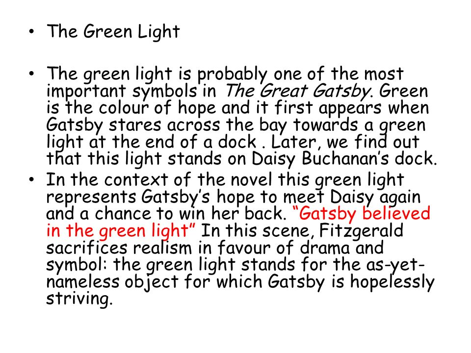 what does the green light mean in the great gatsby