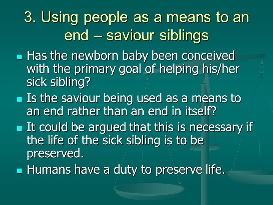 arguments for and against saviour siblings