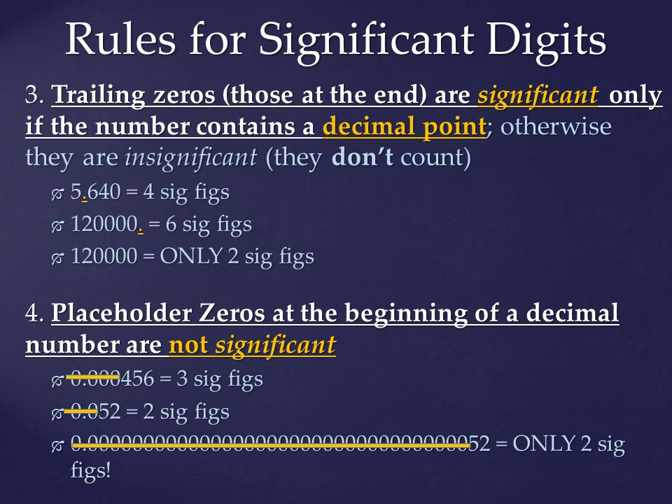 Rules for Significant Digits