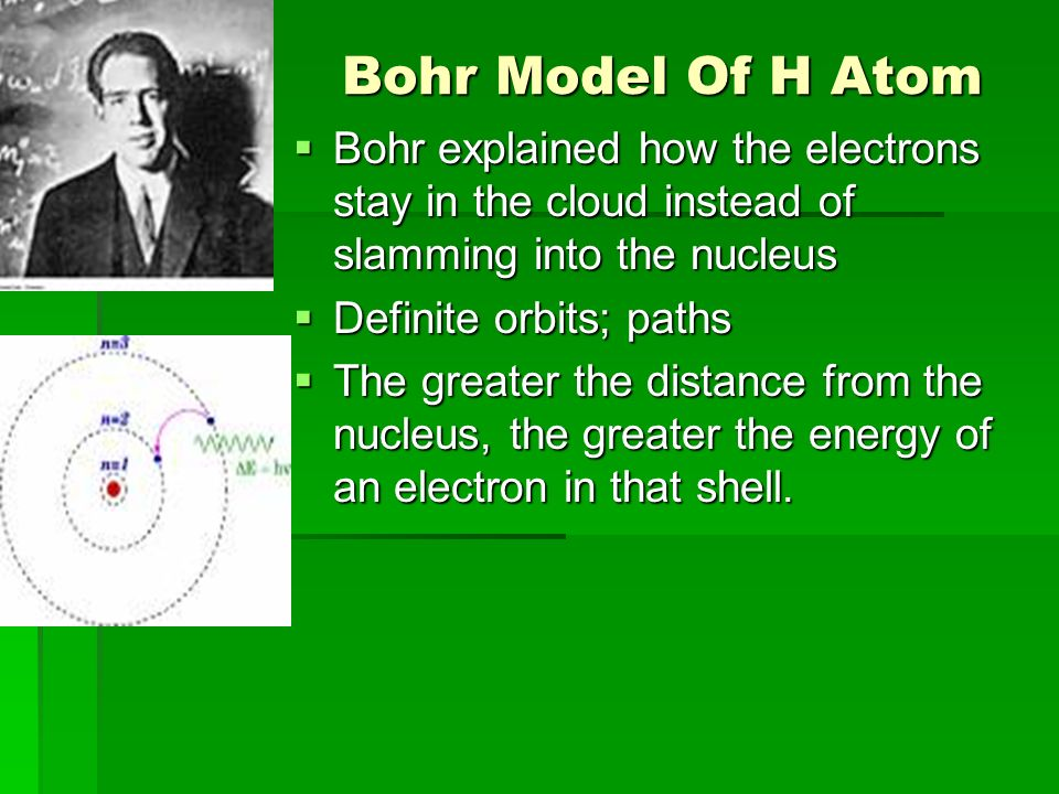 Bohr Model Of H Atom Bohr explained how the electrons stay in the cloud instead of slamming into the nucleus.