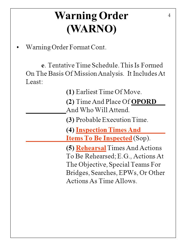 Combat orders 1 combat orders provide information for the for Usmc warning order template