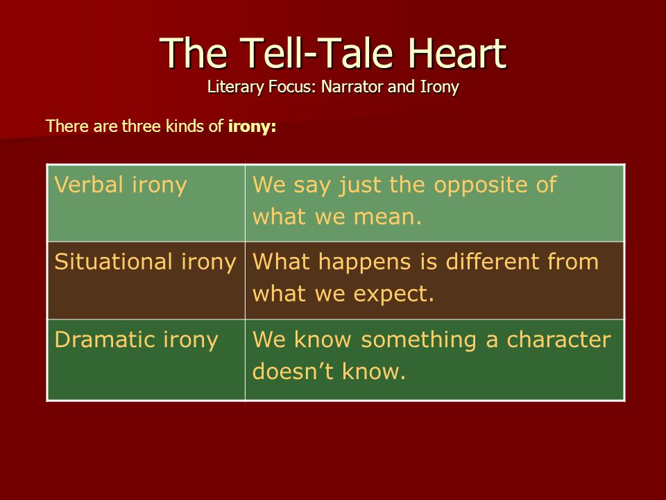 what is the irony in the tell tale heart