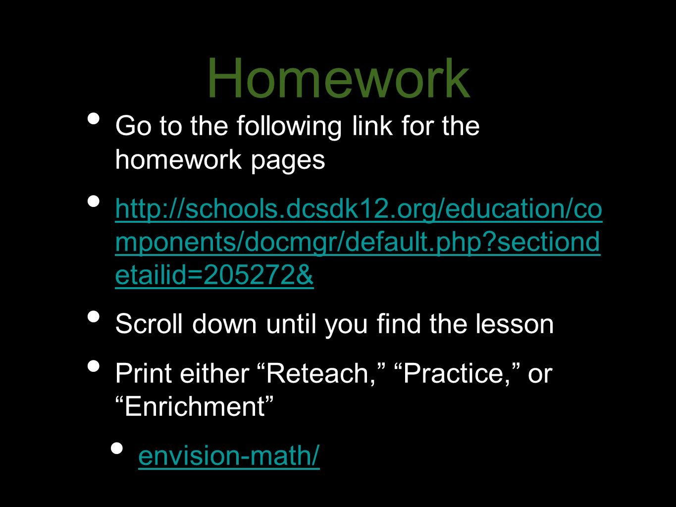 Homework Go to the following link for the homework pages