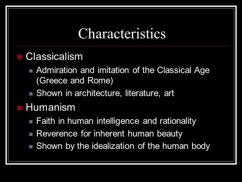 what are the main characteristics of humanism