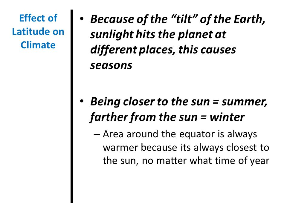 Effect of Latitude on Climate