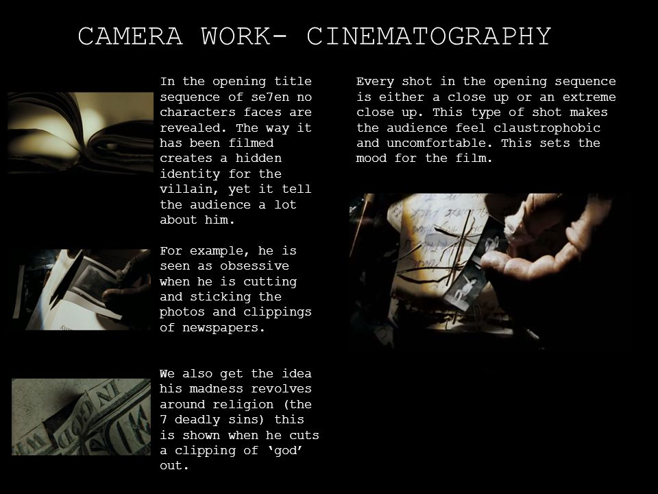 CAMERA WORK- CINEMATOGRAPHY