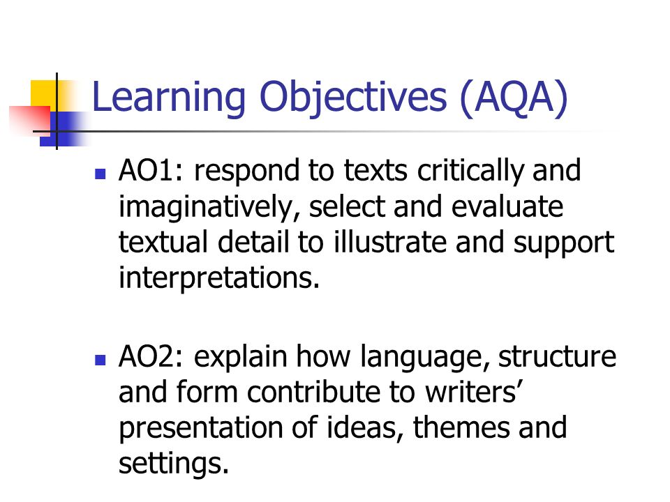 Learning Objectives (AQA)