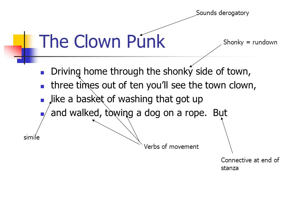 The Clown Punk Driving home through the shonky side of town,