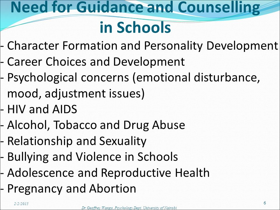 guidance and counselling needs What is a guidance counselor a guidance counselor is an indispensable part of any school administration in the elementary, middle school and high school levels they are advocates in the students' whole being because they administer guidance.