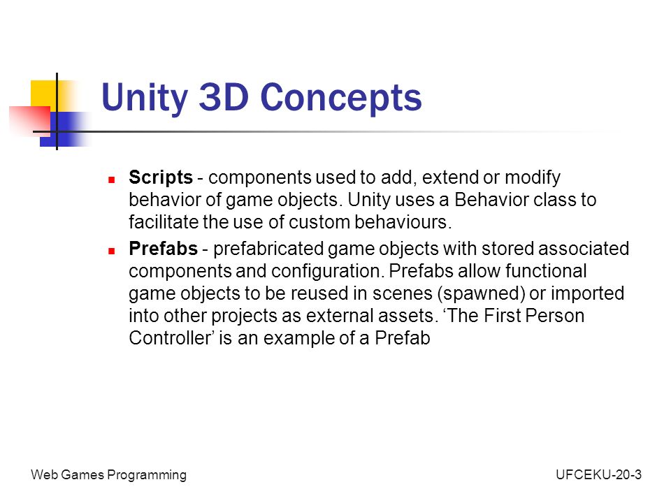 Web Games Programming An Introduction to Unity 3D  - ppt video