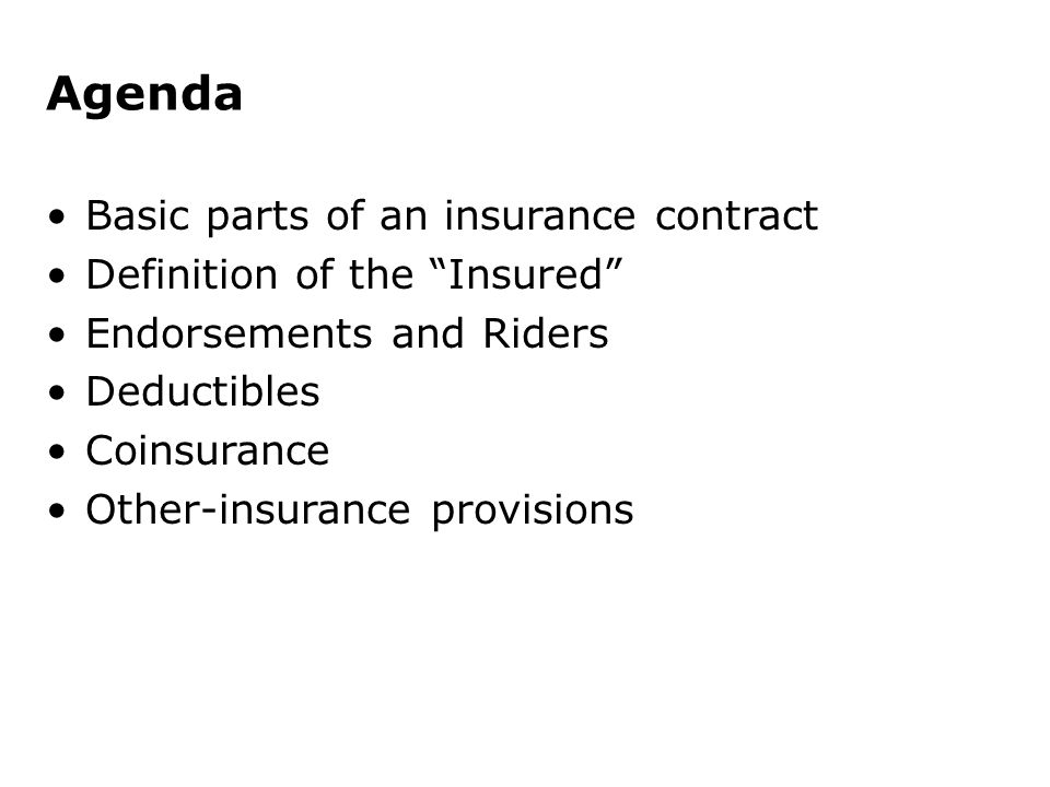 Analysis Of Insurance Contracts Ppt Video Online Download