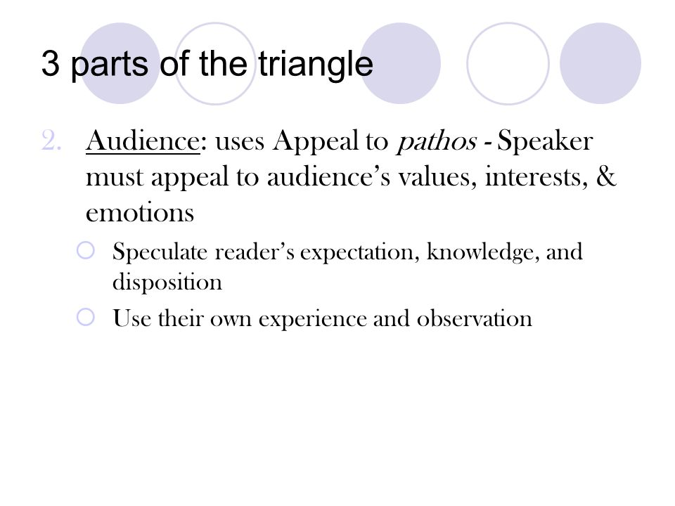 3 parts of the triangle Audience: uses Appeal to pathos - Speaker must appeal to audience's values, interests, & emotions.